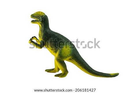 Dilophosaurus dinosaur toy figure isolated on white. - stock photo