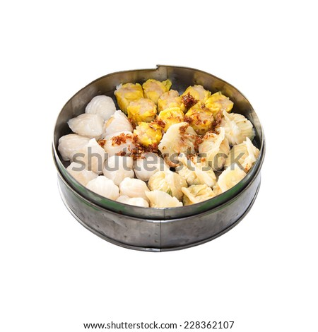 Dim Sum chinese cuisine isolated on white background - stock photo