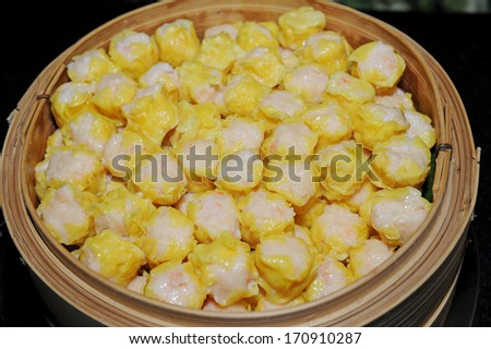 dim sum in bamboo - stock photo