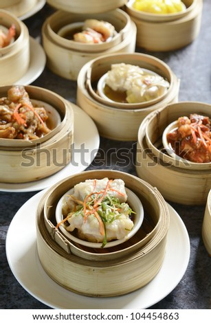 dim sum on table - stock photo