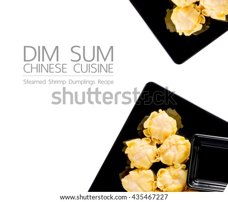 Dim Sum: Steamed shrimp Dumplings Recipe on dish isolated background, Chinese Cuisine - stock photo