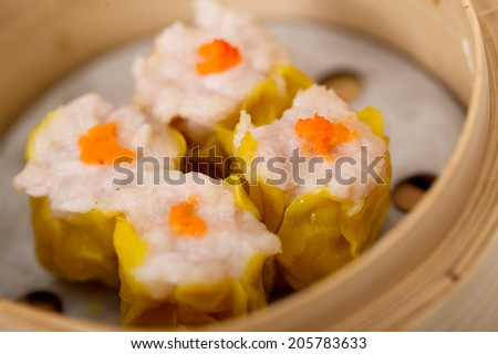 dim sum, yumcha, dim sum in bamboo steamer, chinese cuisine, Type of Chinese Steamed Dumpling  - stock photo
