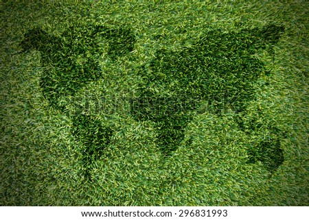 Dimensional Green World Map with USA Europe Africa the Americas and Asia as an international symbol of global communications as a three dimension illustration of an earth model, on grass backgrounds. - stock photo