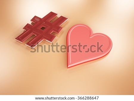 Dimensional inscription of heart and heart near it. - stock photo