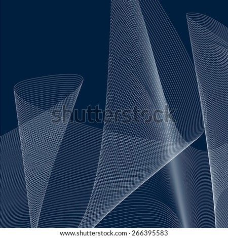 Dimensional motif elegant flowing curves, lace background in motion, backdrop with parallel lines. - stock photo