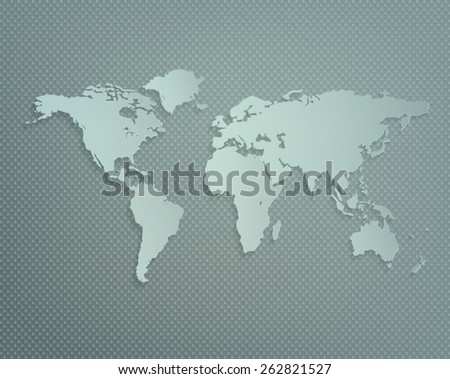 Dimensional World Map With Shadow On A Gray Textured Background - stock photo