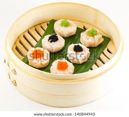 Dimsum Hagao in chinese bamboo basket. dumplings. isolated on white - stock photo