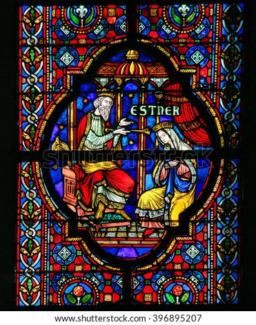 DINANT, BELGIUM - OCTOBER 16, 2011 Stained glass window depicting Esther, biblical queen of Persia, in the Notre Dame church in Dinant, Belgium - stock photo