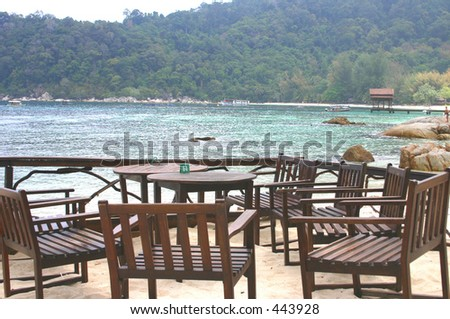 Dine by the beach - stock photo