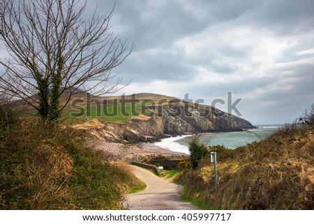 Dingle Peninsula, Ireland, landscape with ocean, hills, road, tree and cloudy sky - stock photo
