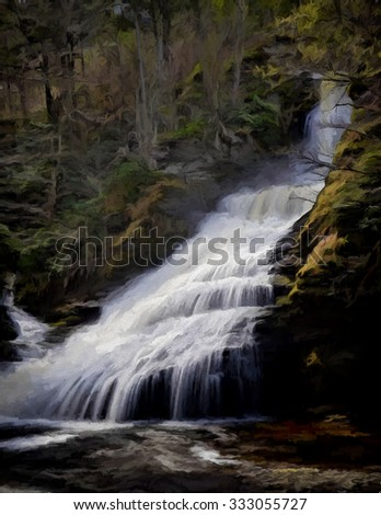 Dingmans Falls in Springtime - turned into a colorful painting  - stock photo