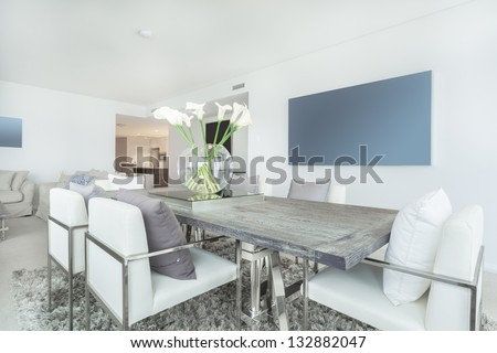 Dining area in modern apartment - stock photo