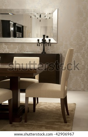 dining room, detail - stock photo