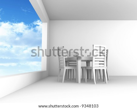Dining room with chairs and a table in light tones with blue of the sky in the open window - stock photo
