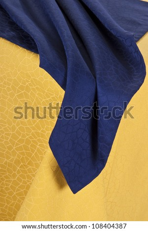 Dining set on soft table linen background. - stock photo
