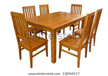 Dining table and chairs isolated on white background - stock photo