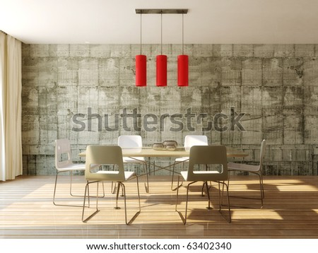 dining table in room with concrete wall - stock photo