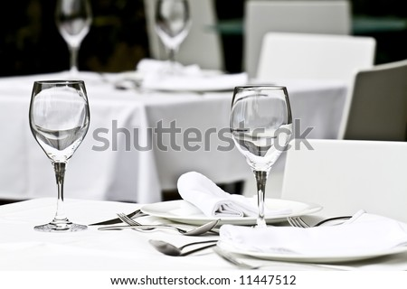 Dining tables ready for customers . - stock photo