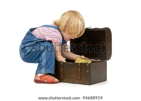 dinky girl  with a treasure chest on a white background - stock photo