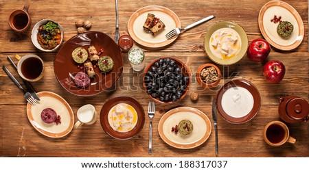 Dinner at restaurant. - stock photo