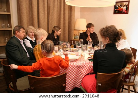 dinner big family - stock photo