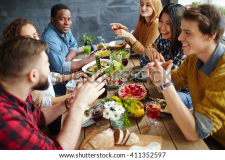 Dinner conversation - stock photo