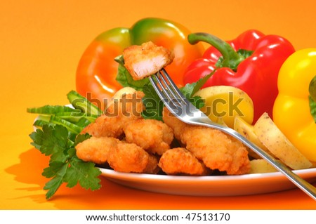 Dinner dish from meat and vegetables - stock photo
