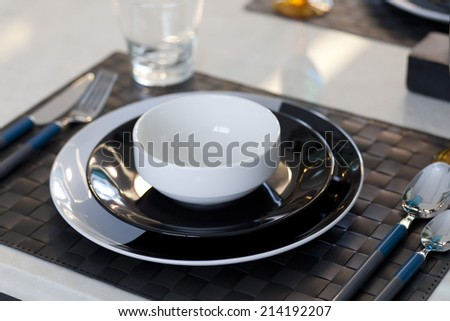 Dinner set on table - stock photo