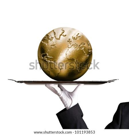 Dinner tray world globe gold - stock photo