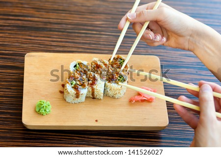 dinner with sushi - stock photo