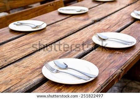 Dinning table in the evening - stock photo