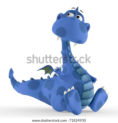 dino blue dragon baby sitting down - stock photo