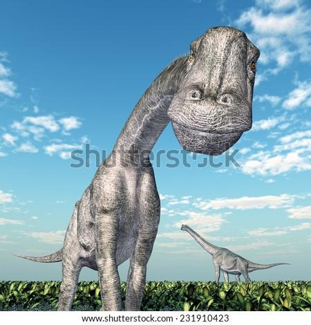 Dinosaur Brachiosaurus Computer generated 3D illustration - stock photo