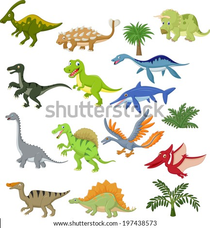 Dinosaur cartoon collection set - stock photo