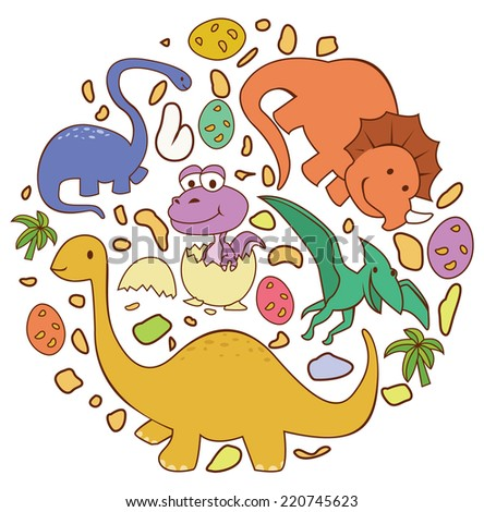 Dinosaur Cute Circle Banner - stock photo