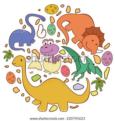 Dinosaur Cute Circle Banner - stock photo