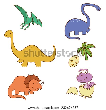 Dinosaur Cute Object Collection - stock photo