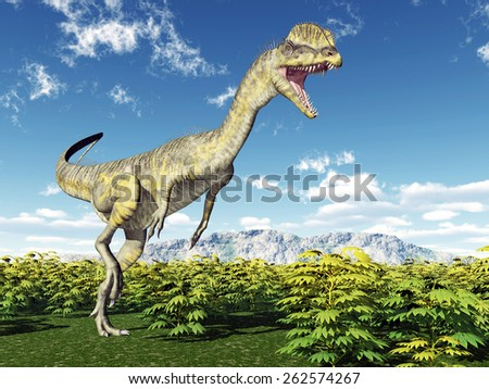 Dinosaur Dilophosaurus Computer generated 3D illustration - stock photo