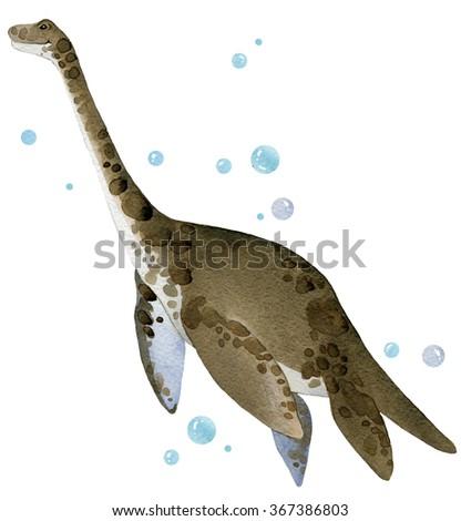 Dinosaur. Dinosaur Watercolor drawing. Dinosaur illustration. Cartoon dinosaur. - stock photo