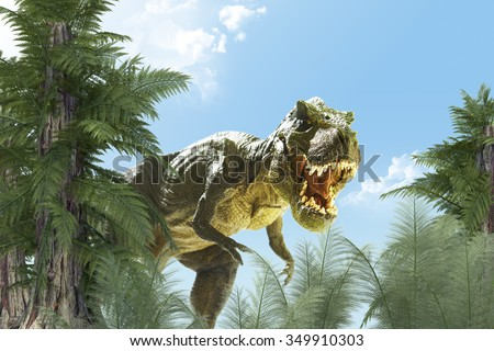 dinosaur in the jungle background. 3D render - stock photo