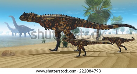 Dinosaur Oasis - A Carnotaurus mother brings her offspring down to a river to drink as two Apatosaurus dinosaurs wade by. - stock photo