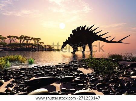 Dinosaur on the shore of the island. - stock photo