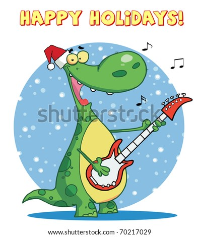 Dinosaur plays guitar with santa hat with happy holidays sign - stock photo