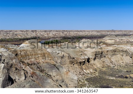 Dinosaur Provincial Park  near Drumheller noted for the beauty of its badlands landscape and as a major fossil site, Alberta,Canada - stock photo