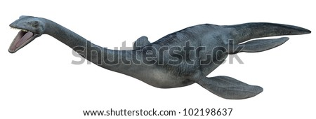 Dinosaur swimming with mouth open - stock photo