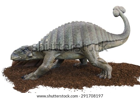 Dinosaur (Tarchia Gigantea) on a white background. Lifesize model of a dinosaur that grew to 4.3 metres long and weighed 2 tons. - stock photo