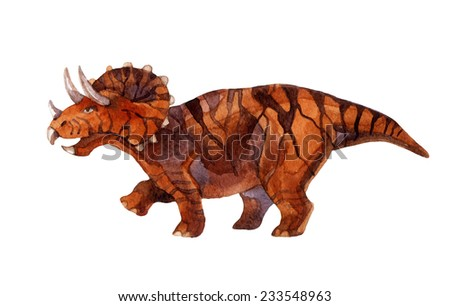 Dinosaur triceratops. Watercolor illustration - stock photo