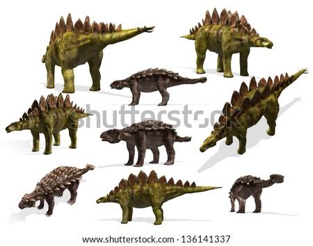 dinosaurs collection. Stegosaurus and Ankylosaurus - stock photo