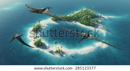 Dinosaurs natural park. Jurassic Period. Dinosaurs flying above paradise tropical island  - stock photo