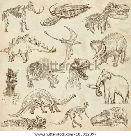 DINOSAURS (set no. 3) - Collection of an hand drawn illustrations. Description: Full sized hand drawn illustrations drawing old paper. - stock photo